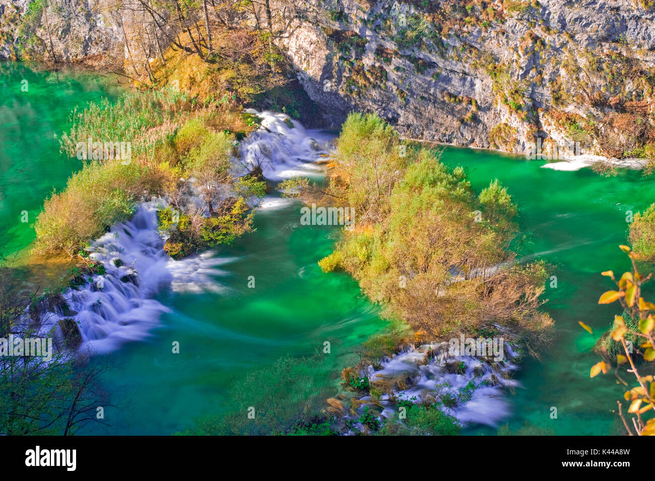Plitvice Lakes National Park in Croatia is located in an area of dense forests , rich in rivers , lakes and waterfalls, and especially in autumn, creating a paradise of extraordinary natural beauty that is part of the list of UNESCO World Heritage Site. - Stock Image
