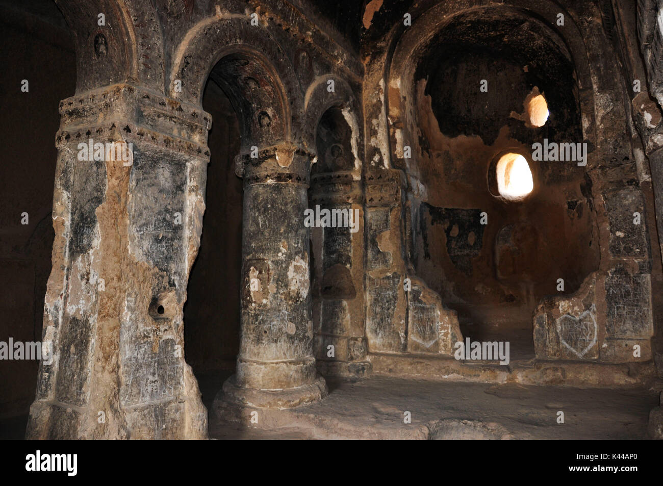 In Turkey, Kapadokia, you can see place where religious rites were practiced on a daily basis under the supervision of a preacher. This place is the Open Air Museum in Goreme where you can visit some of the churches of the time. - Stock Image