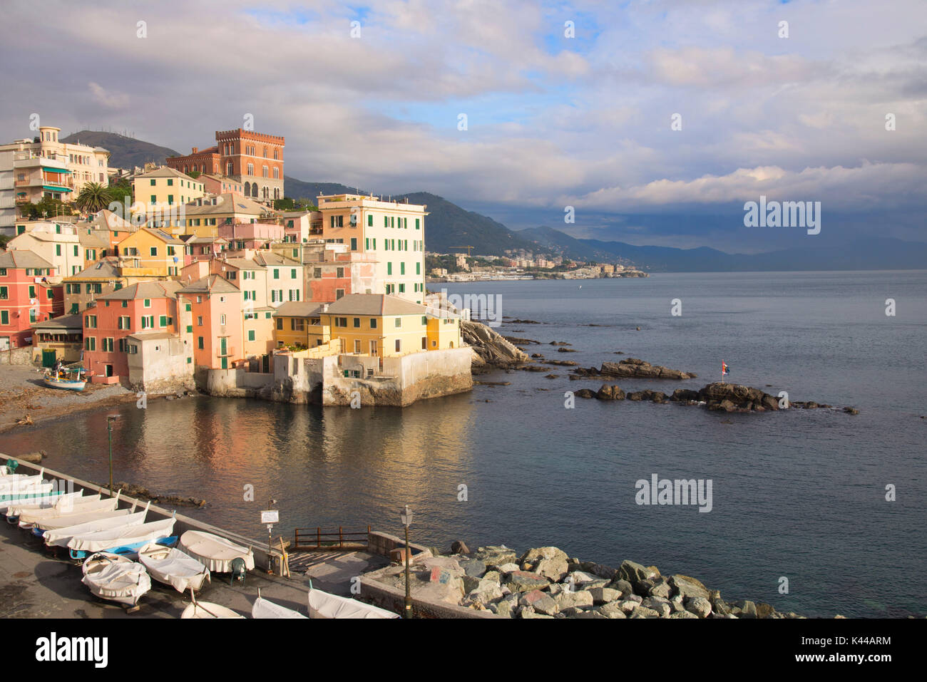 View of Boccadasse, Genoa, in a beautiful day. This part of the city is very beautiful, old and trip destination for foreigners. - Stock Image