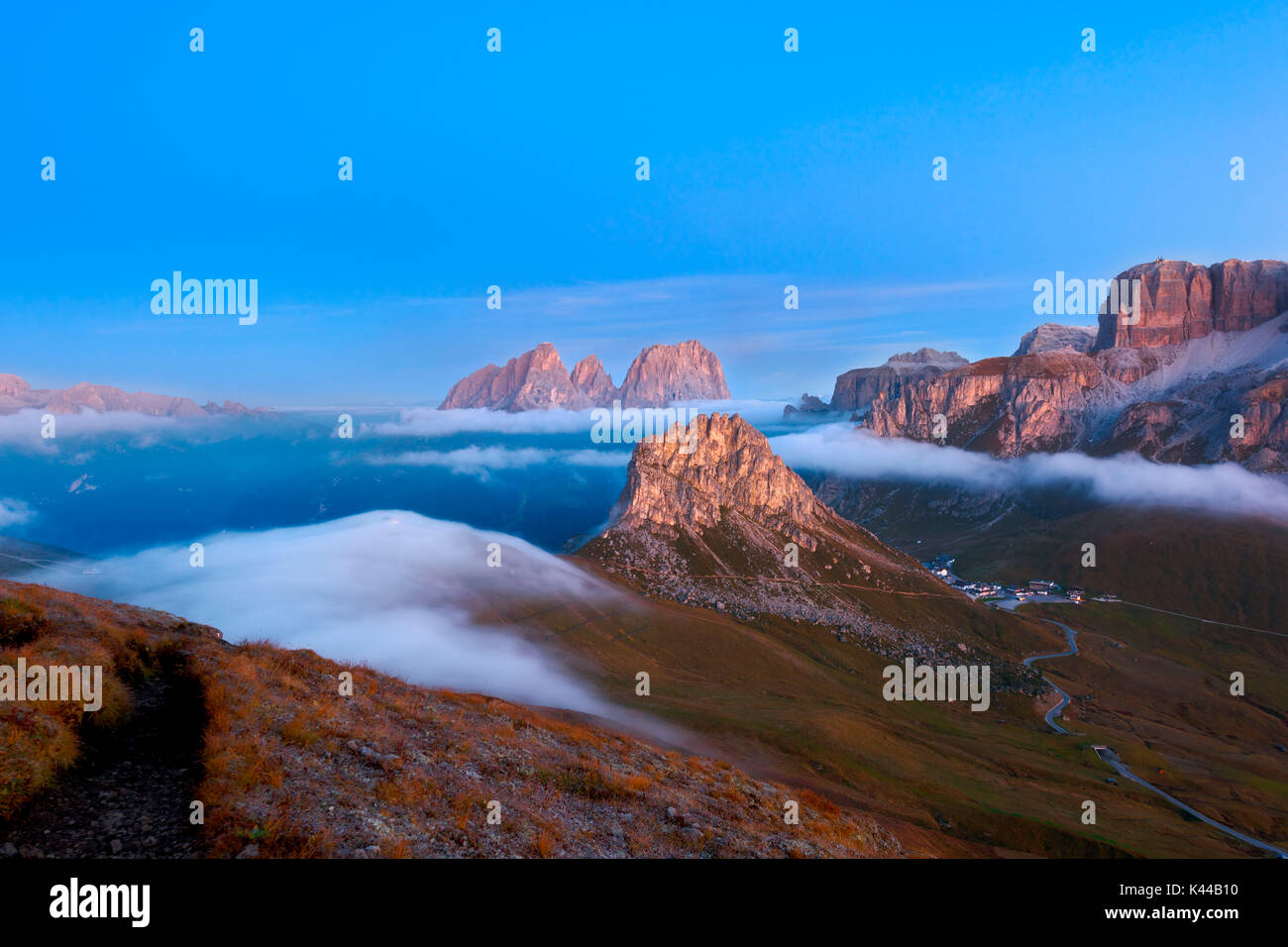 Trentino,Dolomites,Fassa Valley, Europe, Italy, Pordoi pass. - Stock Image