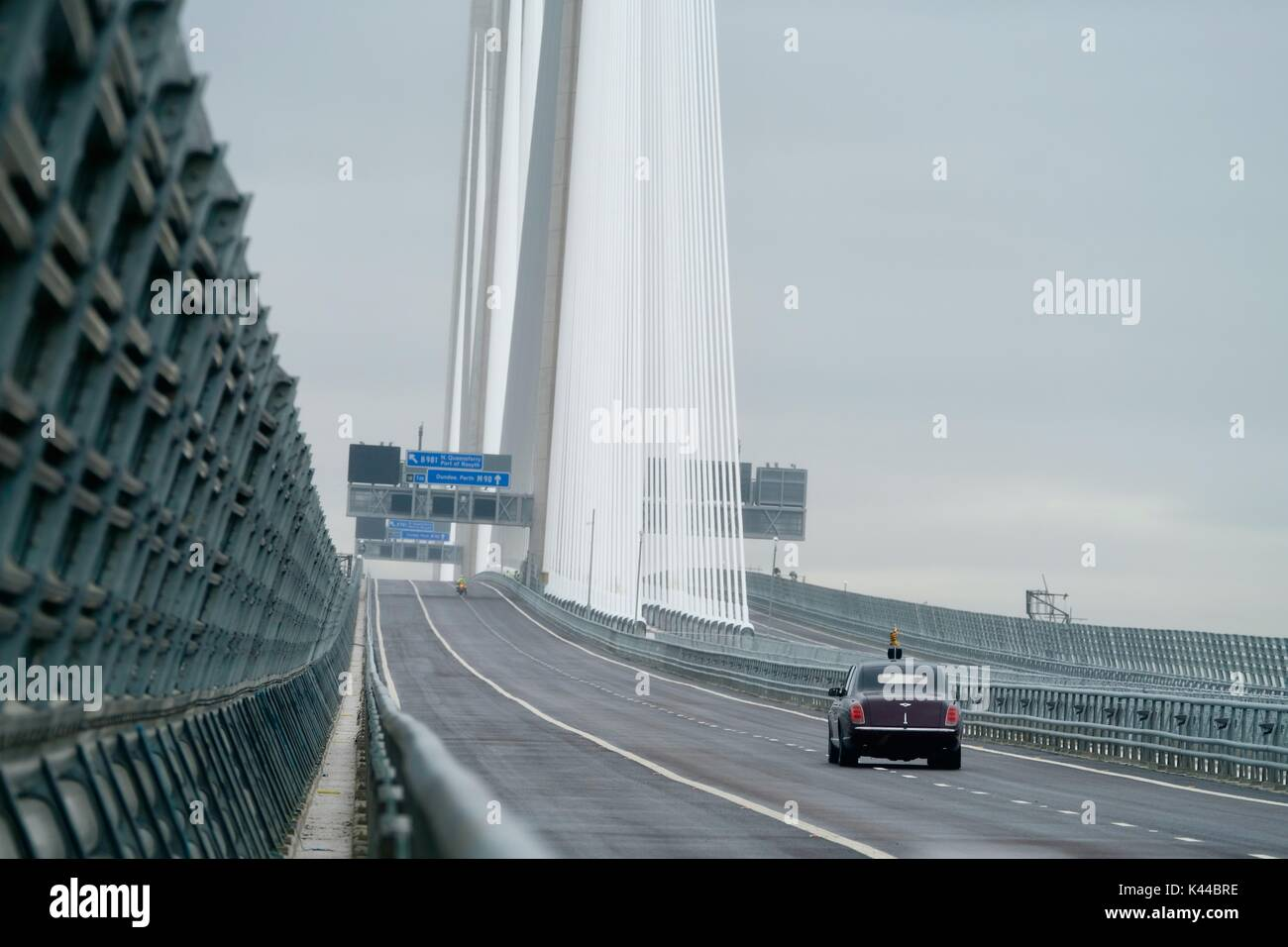 South Queensferry, Edinburgh, UK. 04th Sep, 2017. Queen Elizabeth II opens new Queensferry crossing accompanied by First Minister of Scotland Nicola Sturgeon. Credit: Iain Masterton/Alamy Live News - Stock Image