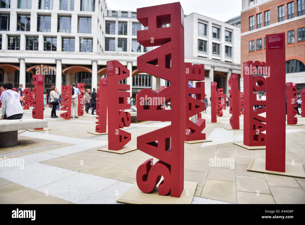 London, UK.  4 September 2017.   104 three dimensional names have been installed in Paternoster Square near St. Stock Photo