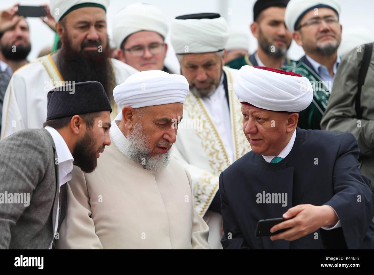 Arabic Teacher Abdul Razzaq Al Saadi C And Albir Krganov R Mufti Of Moscow Attend The Opening Bolgar Islamic Academy BIA