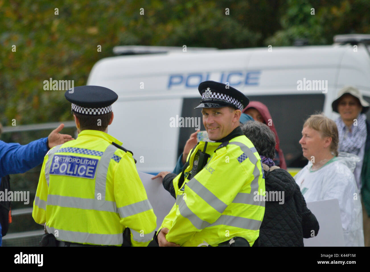 London, UK, 4th September 2017 Protestors outside the Defence and Security Equipment International (DSEI)  2017 Stock Photo