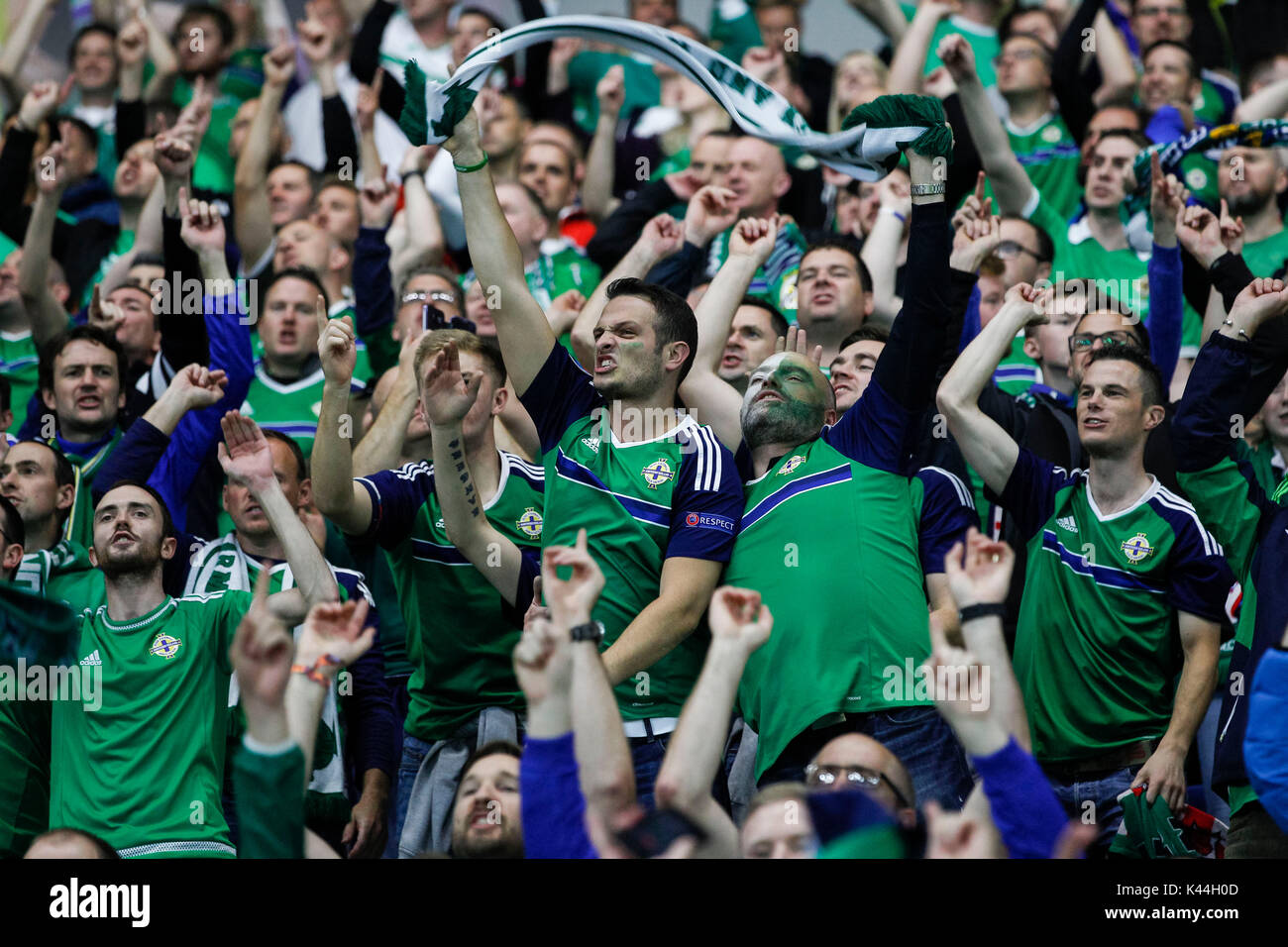 Northern Ireland Fans Celebrate During The Fifa World Cup 2018 Qualifying Group C Match Between And Czech Republic At Windsor Park On