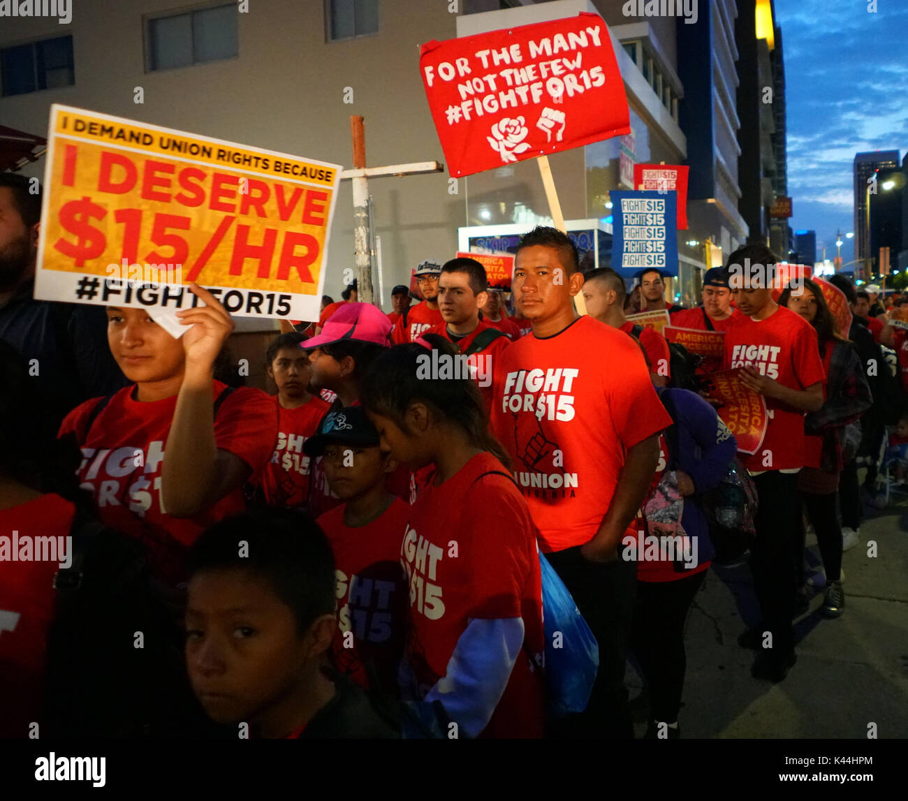 Los Angeles, USA. 4th Sept, 2017. 5:30 am to 7:30 am California Fight for 15 Strike on Labor Day, hundreds of volunteers - Stock Image