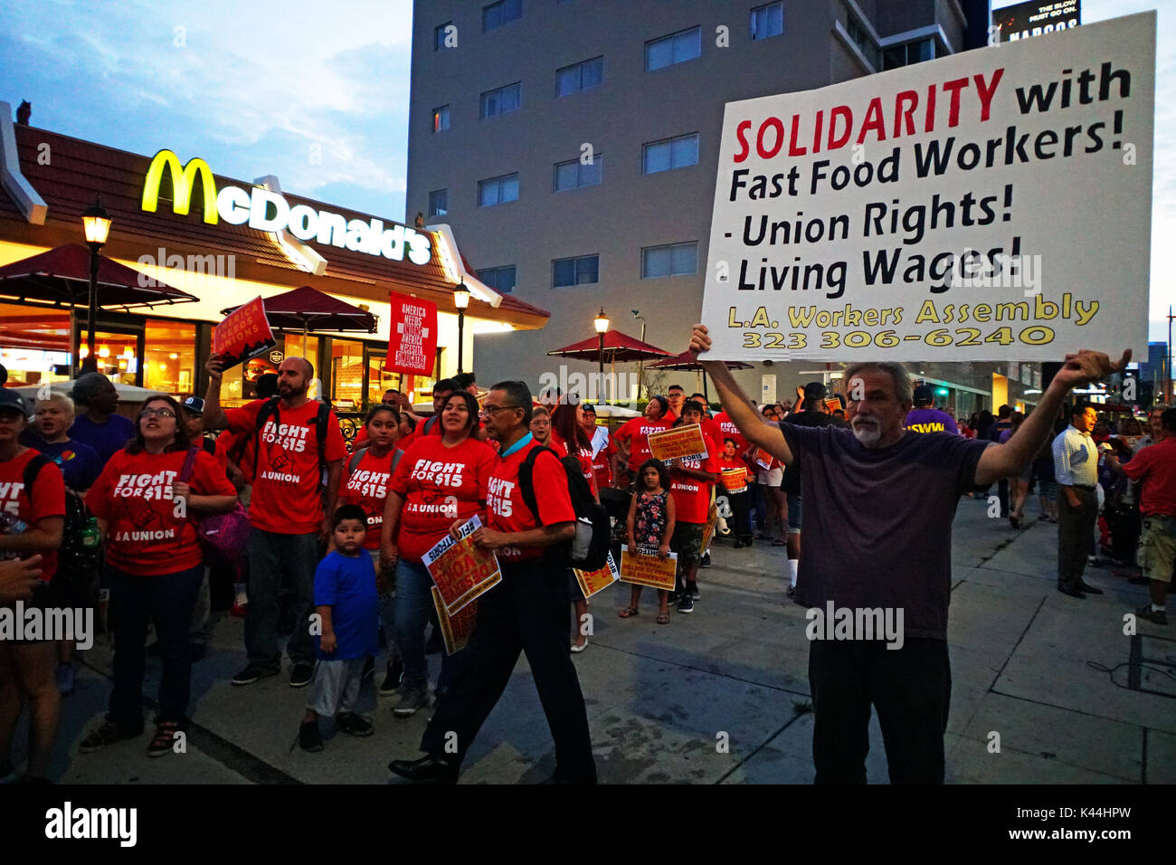 Los Angeles, USA. 4th Sept, 2017. 5:30 am to 7:30 am California Fight for 15 Strike on Labor Day. Fast-food workers - Stock Image