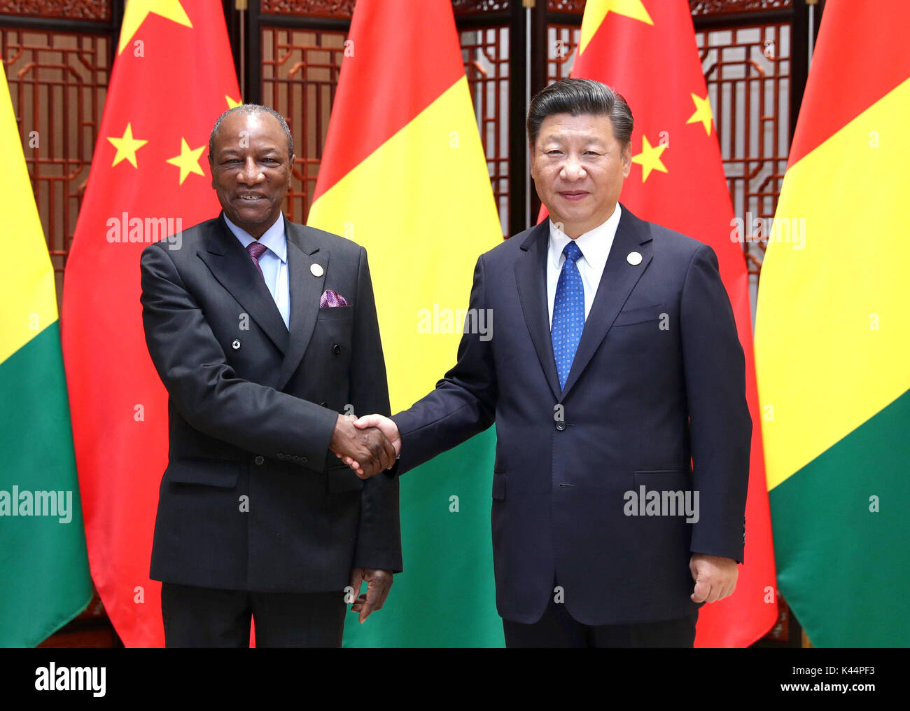 Xiamen, China's Fujian Province. 5th Sep, 2017. Chinese President Xi Jinping meets with Guinean President Alpha Stock Photo