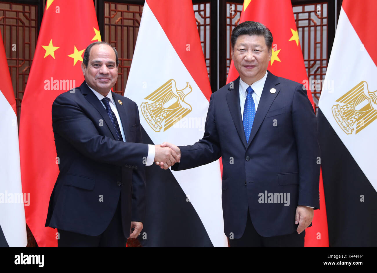 Xiamen, China's Fujian Province. 5th Sep, 2017. Chinese President Xi Jinping meets with Egyptian President Abdel Stock Photo