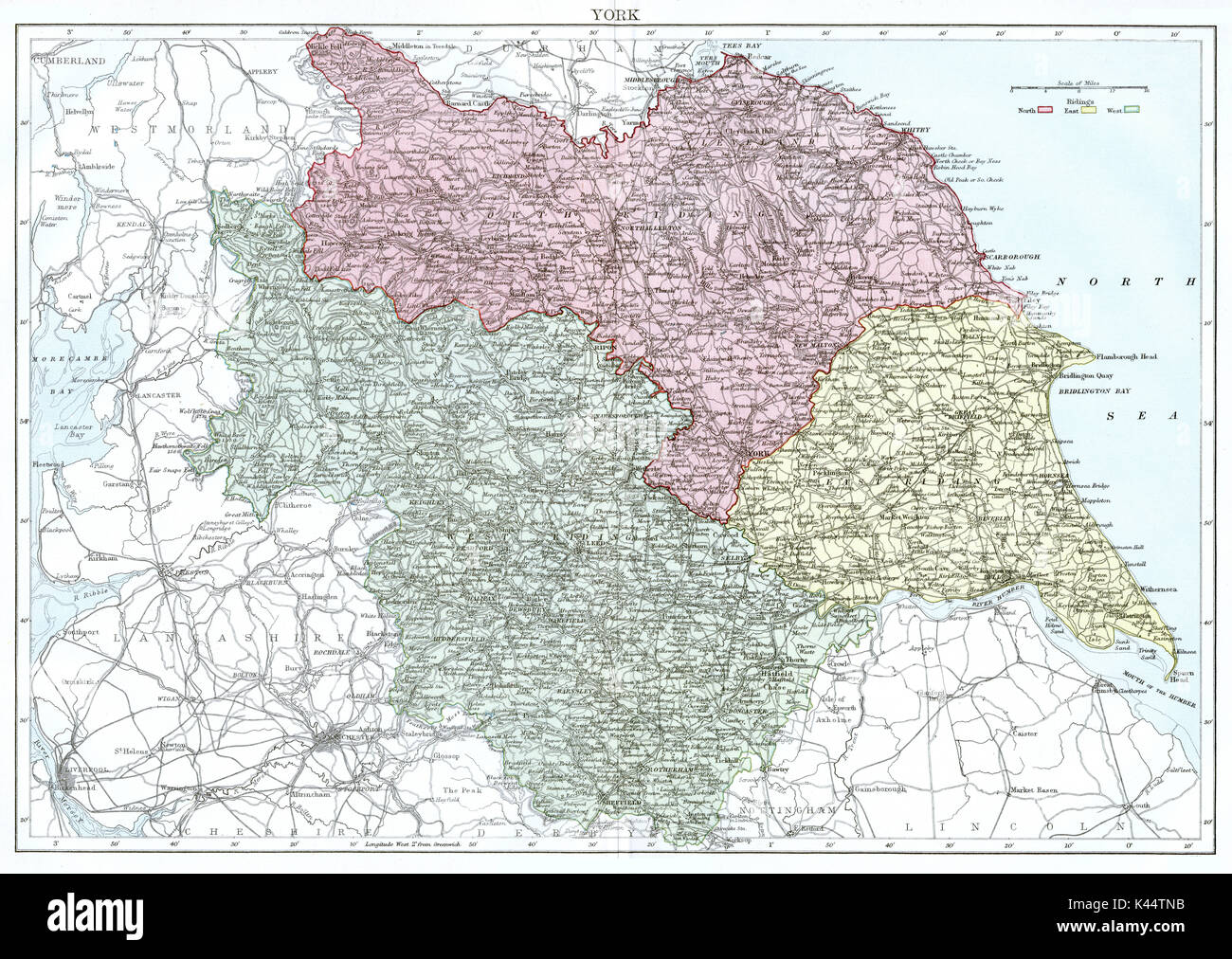 Antique map, circa 1875, of Yorkshire - Stock Image