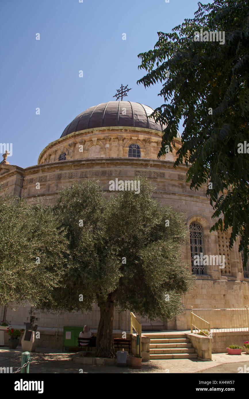 Round Ethiopian Church on Ethiopia Street in Jerusalem, Israel. It belongs to the Ethiopian Orthodox Tewahedo Church - Stock Image
