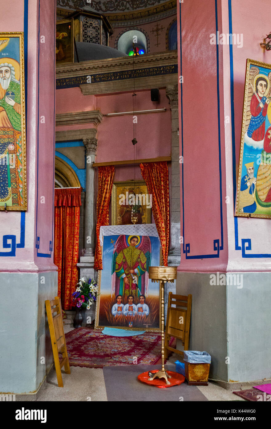 JERUSALEM, ISRAEL - July 31,2015: Interior of  The Ethiopian Church on Ethiopia Street in Jerusalem, Israel. It belongs to the Ethiopian Orthodox Tewa - Stock Image