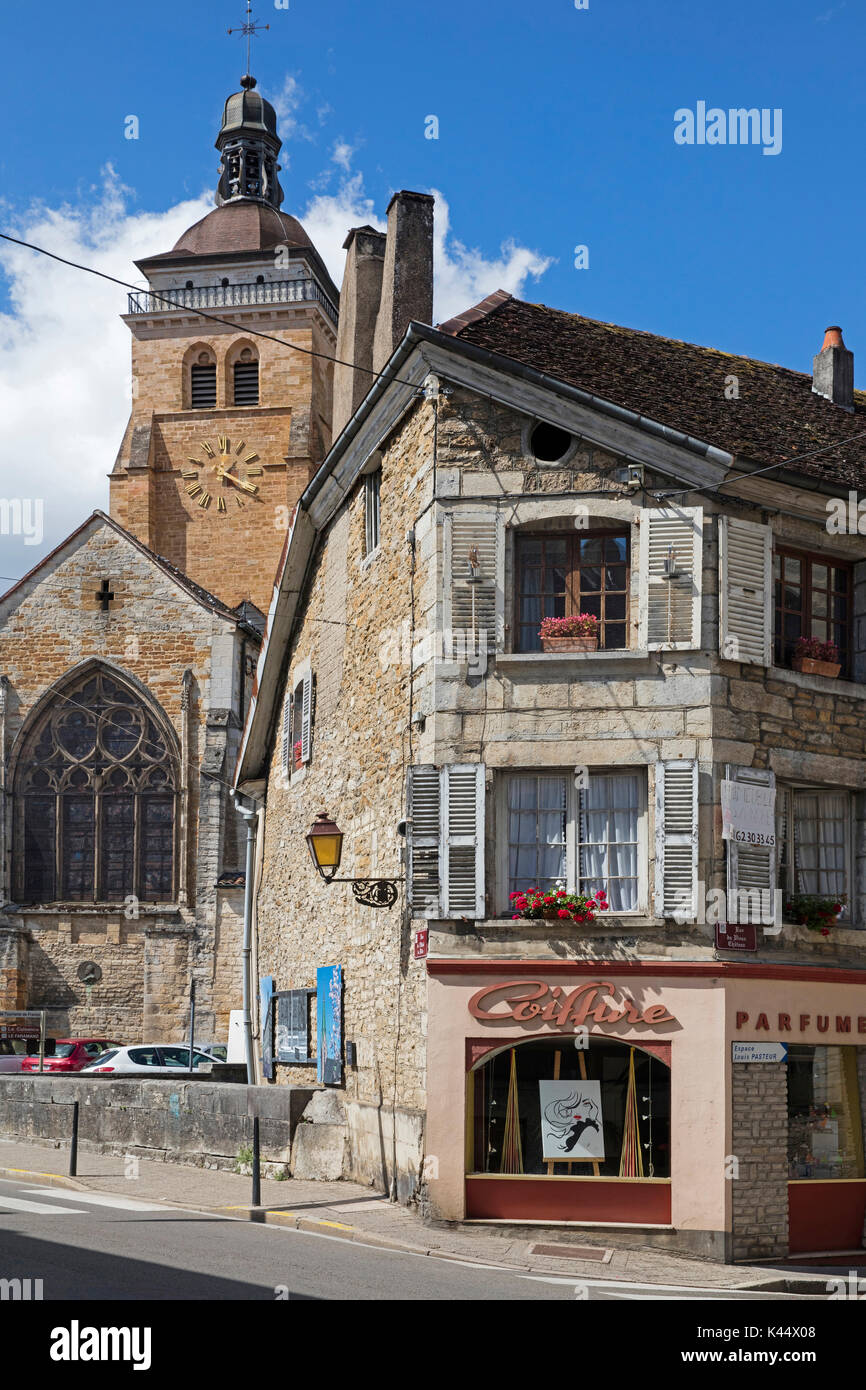The église Saint-Just / Church of St Just in the town Arbois, commune in the Jura department, Franche-Comté, Lons Stock Photo