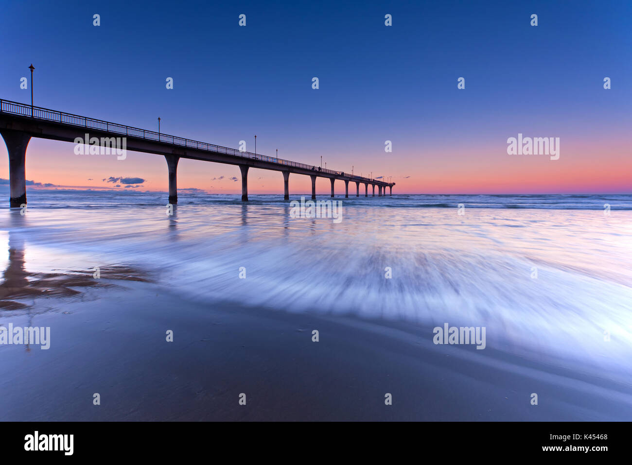 Long Exposure wave New Brighton Beach View in Christchurch, South Island, New Zealand. - Stock Image