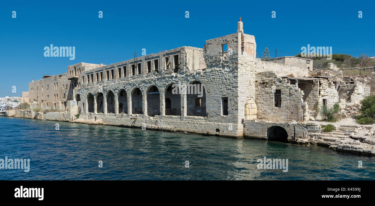 Buildings used by Royal Navy Tenth Submarine Flotilla during Second World War - Manoel Island, Marsamxett Harbour, Malta - Stock Image