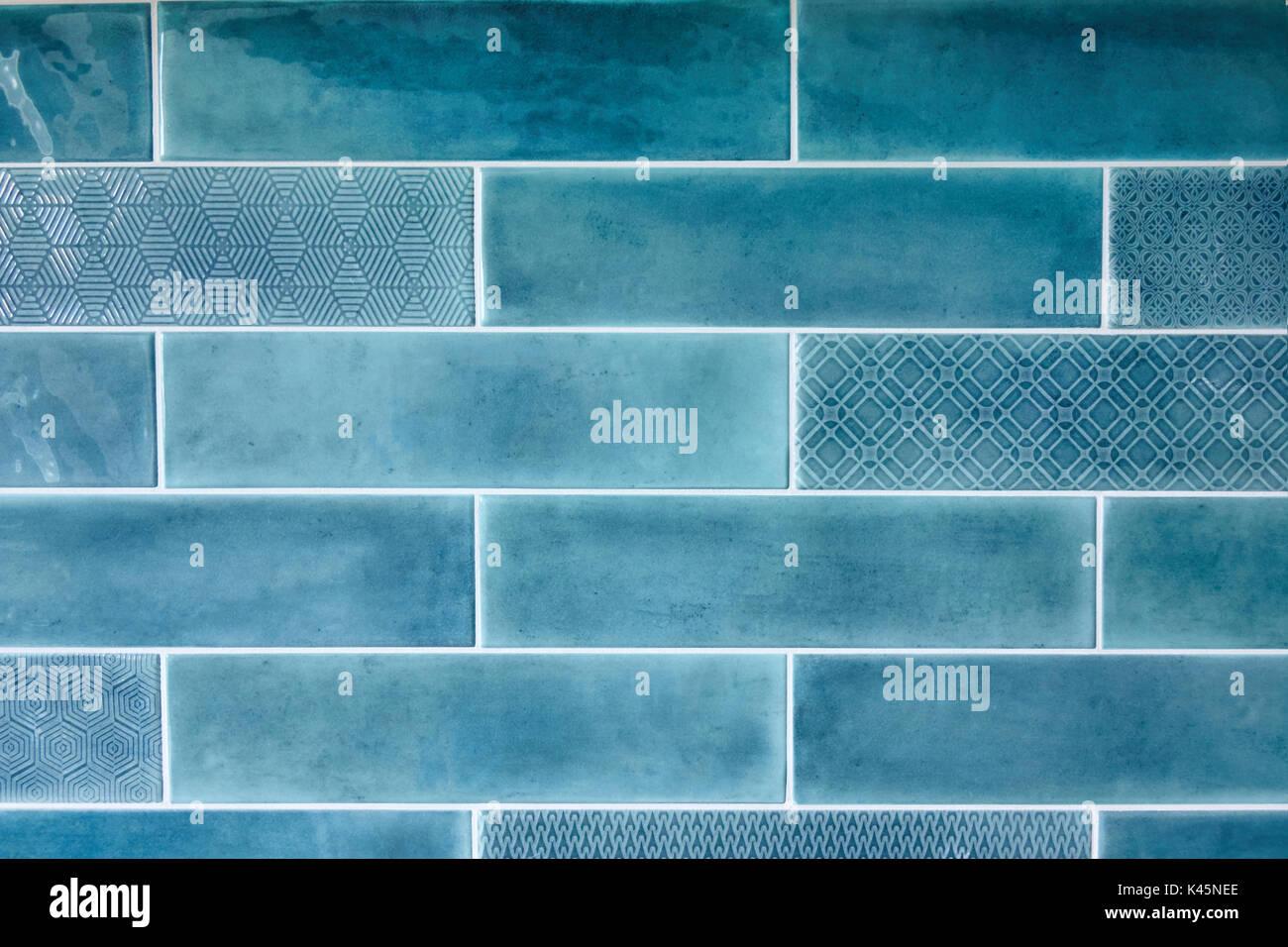 Blue ceramic tiles of rectangular shape, background Stock Photo ...