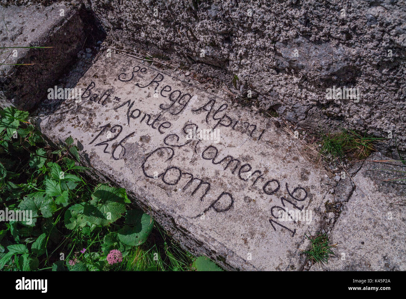Kleiner Pal, Austria. Written into the rock by Italian soldiers - Stock Image