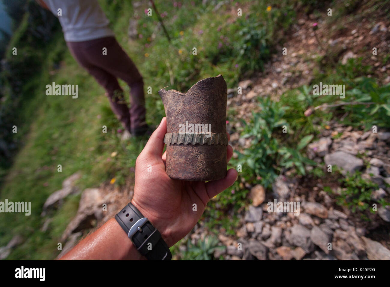 Kleiner Pal, Italy. An Austrian grenade piece - Stock Image