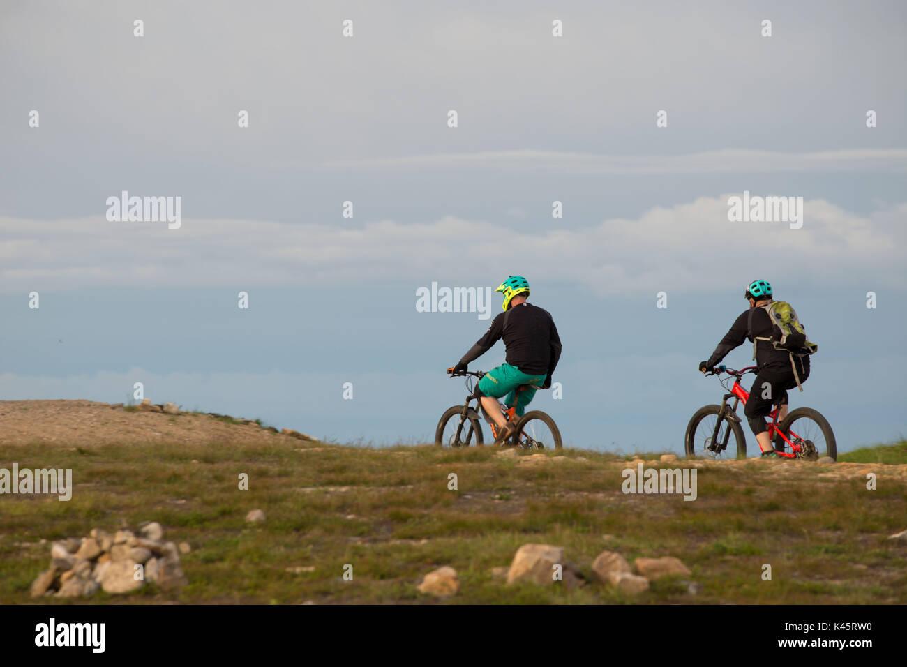 Mountain bikers, Lapland - Stock Image