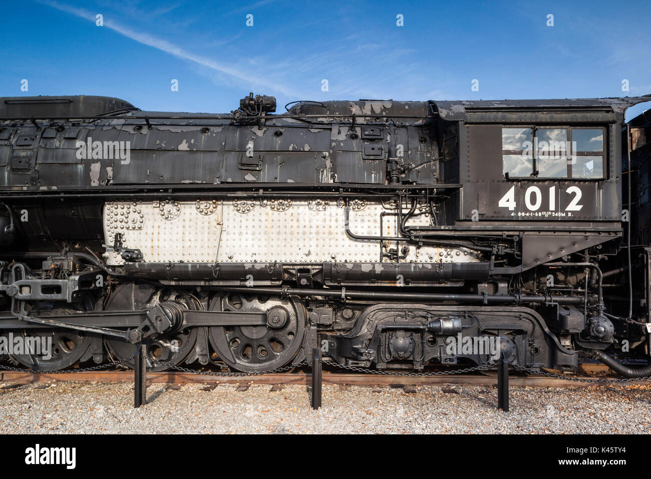 USA, Pennsylvania, Scranton,  Steamtown National Historic Site, Union Pacifc Locomotive 4012, one of the world's Stock Photo