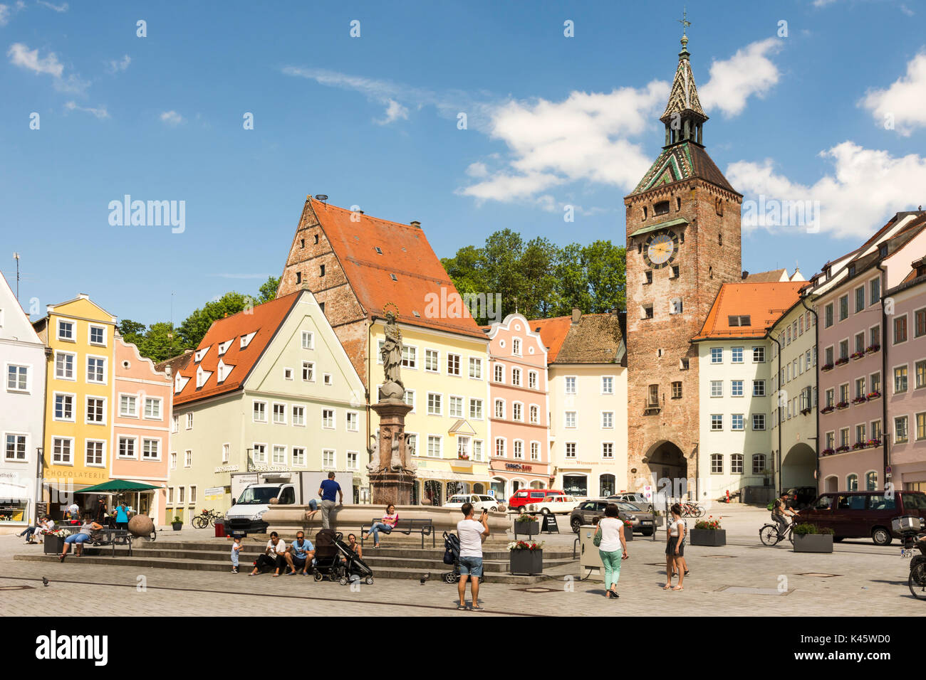 LANDSBERG AM LECH, GERMANY - JUNE 10: People at the market square of Landsberg am Lech, Germany on June 10, 2017. Landsberg is situated on the so call - Stock Image