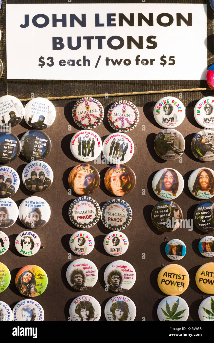 USA, New York, New York City, Central Park, Strawberry Fields, John Lennon Buttons - Stock Image