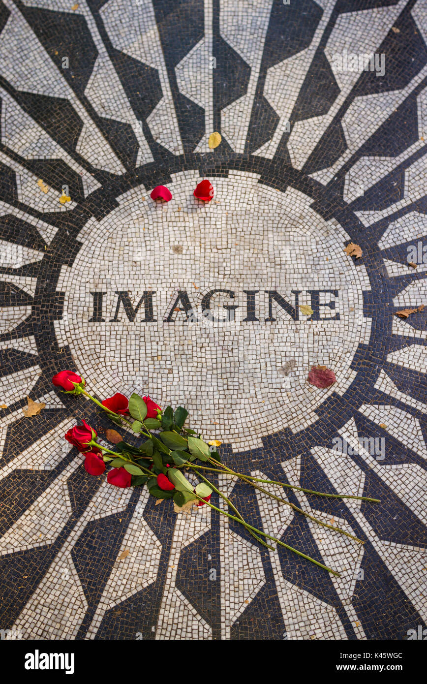USA, New York, New York City, Central Park, Strawberry Fields, memorial to John Lennon - Stock Image