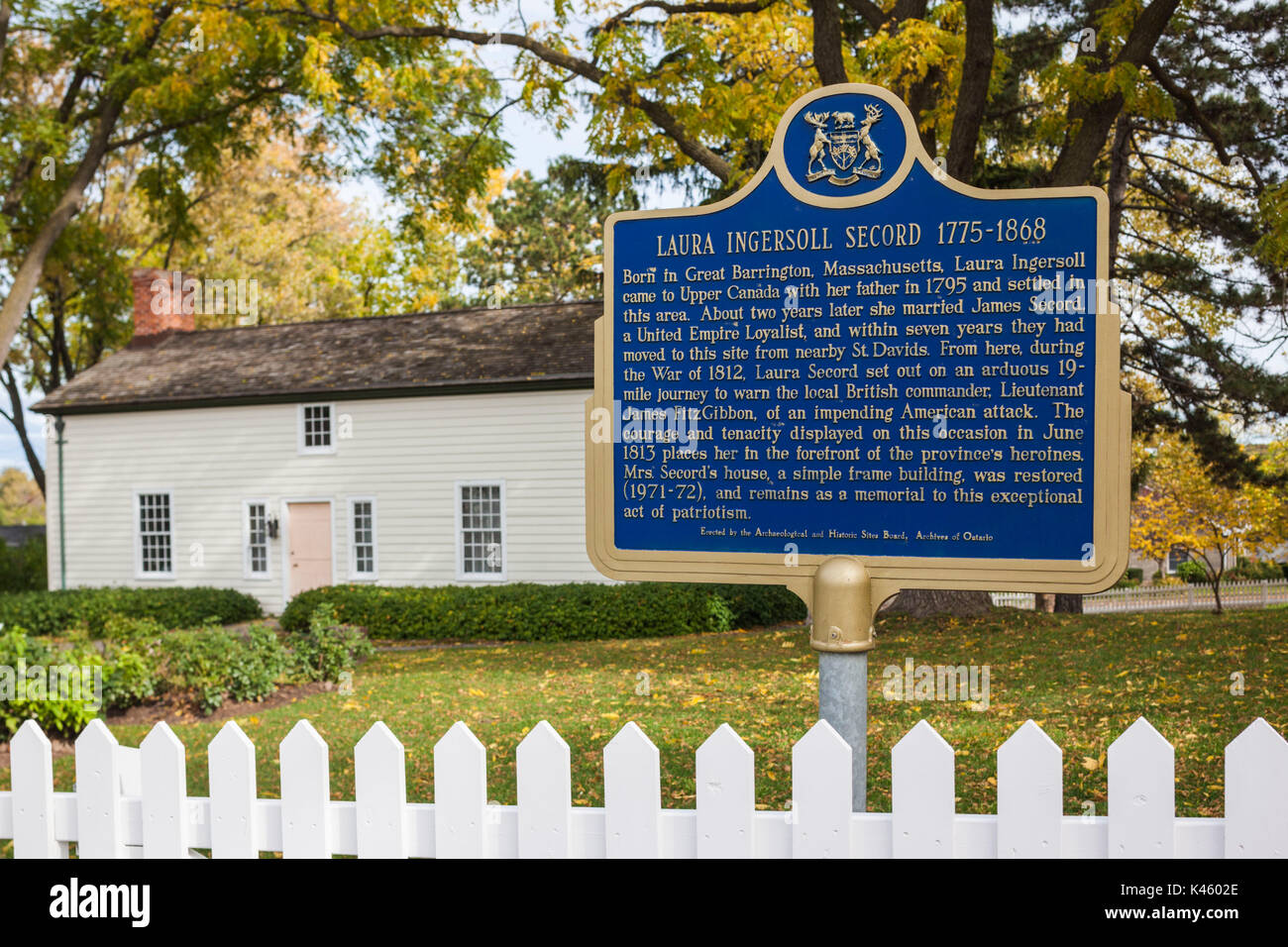 Canada, Ontario, Queenston, Laura Secord Homestead, home of loyalist her of the War of 1812, Laura Secord - Stock Image