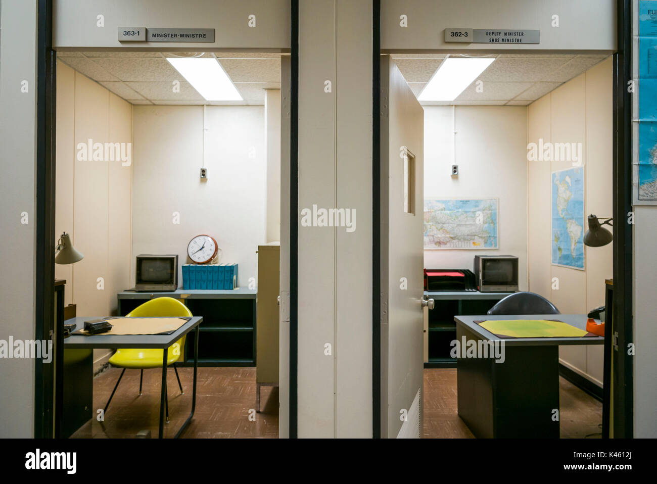 Canada, Ontario, Carp, The Diefenbunker, Canadian Cold War Museum in underground bunker, ministerial offices - Stock Image