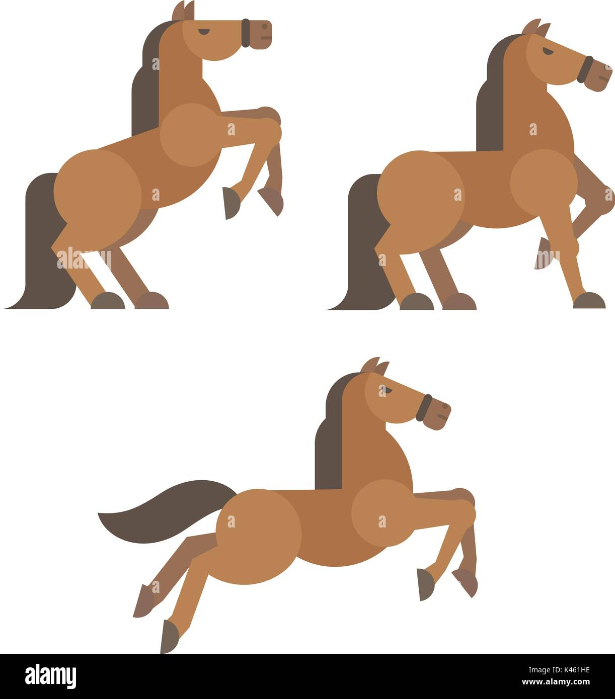 Horse poses flat illustration. Brown horse rearing, standing, running poses - Stock Image