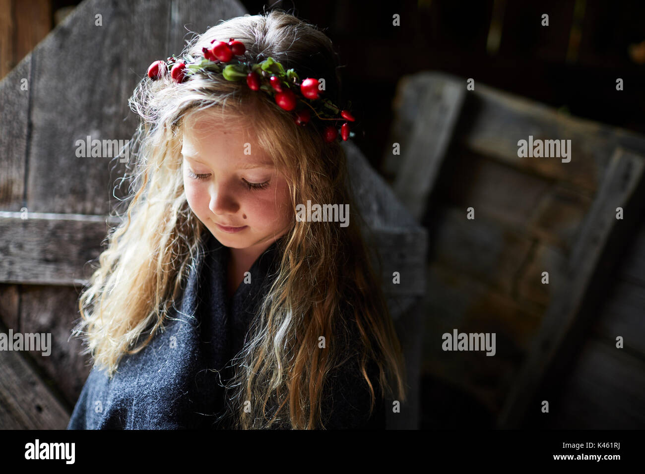 Blond long-haired girl, headdress, garland with rose hips, portrait, - Stock Image