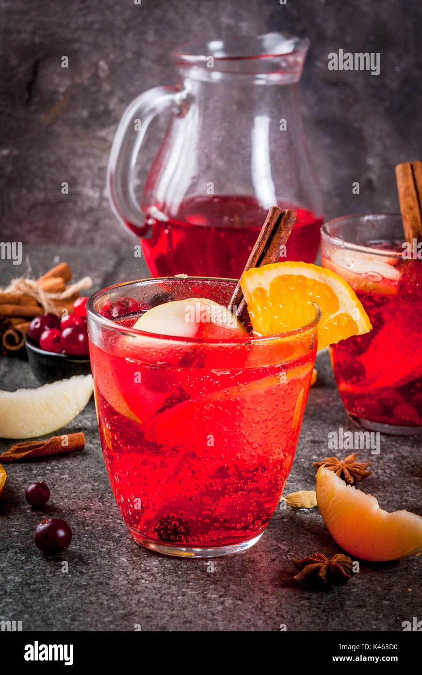 Cranberry Christmas Punch.Fall And Winter Cold Drinks Cranberry And Orange Holiday
