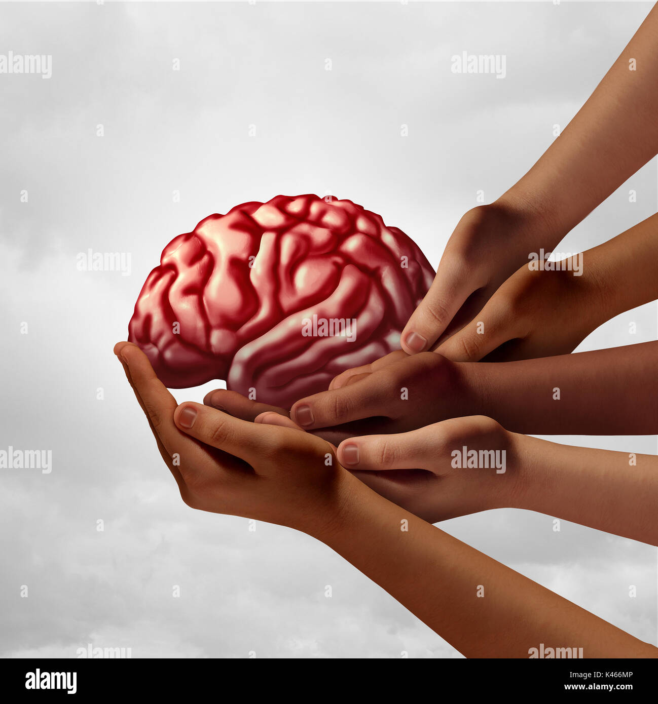 Neurology health group care as diverse hands holding a human brain as a team psychology metaphor with 3D illustration elements. - Stock Image