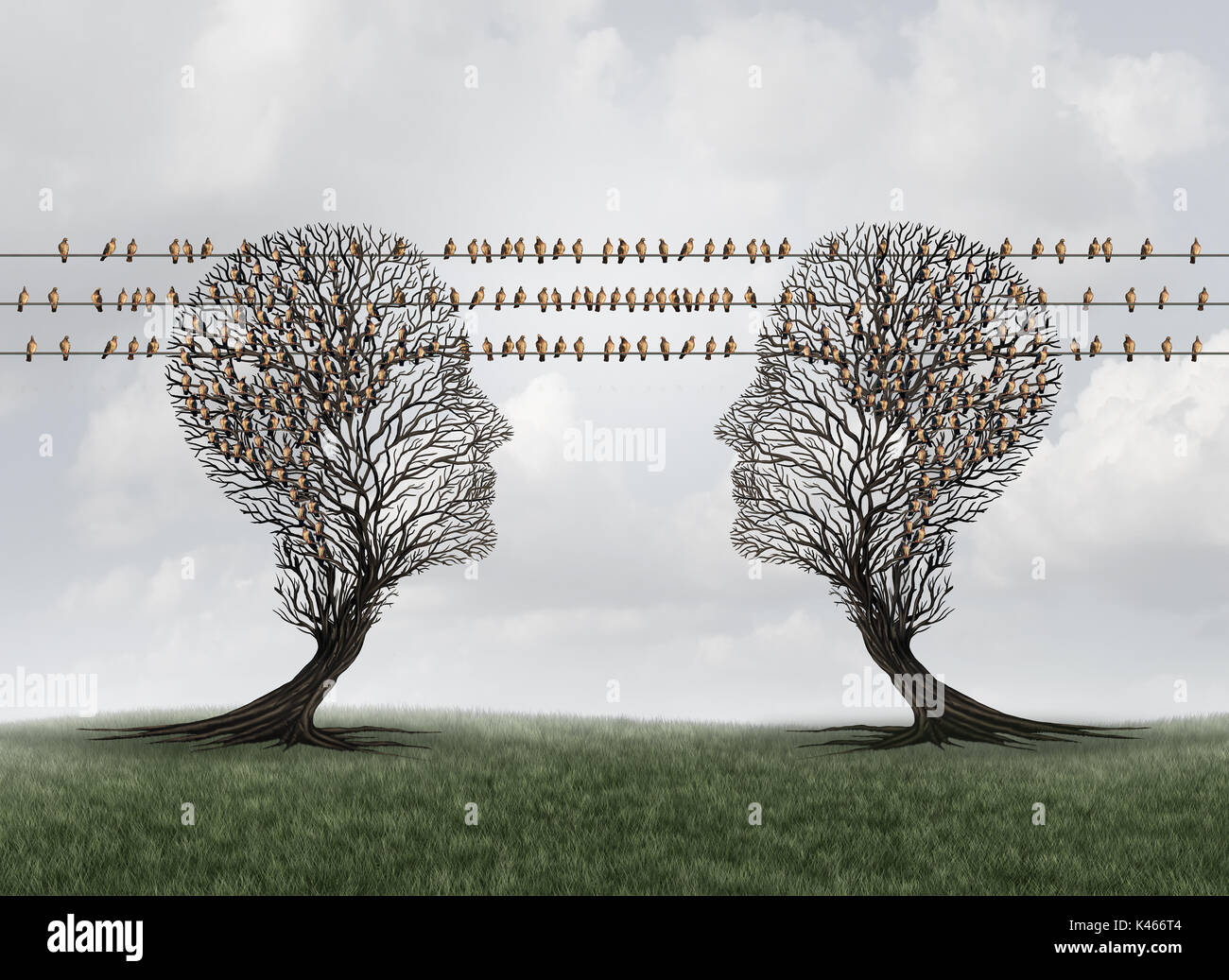 Connection communication network as trees shaped as human heads connected with birds on wires as messenger pigeons as internet data. - Stock Image