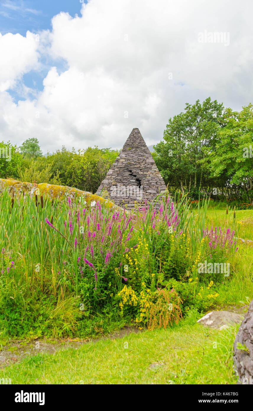 Sneem pyramids the creation of James Scanlon for a council project, Sneem Iveragh Peninsula Ireland - Stock Image