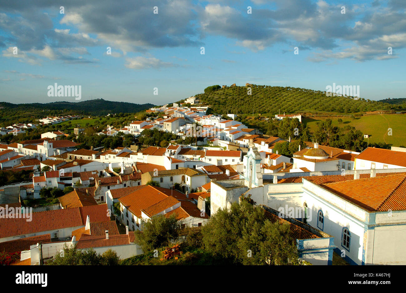 The traditional village of Portel with white houses, Alentejo, Portugal - Stock Image