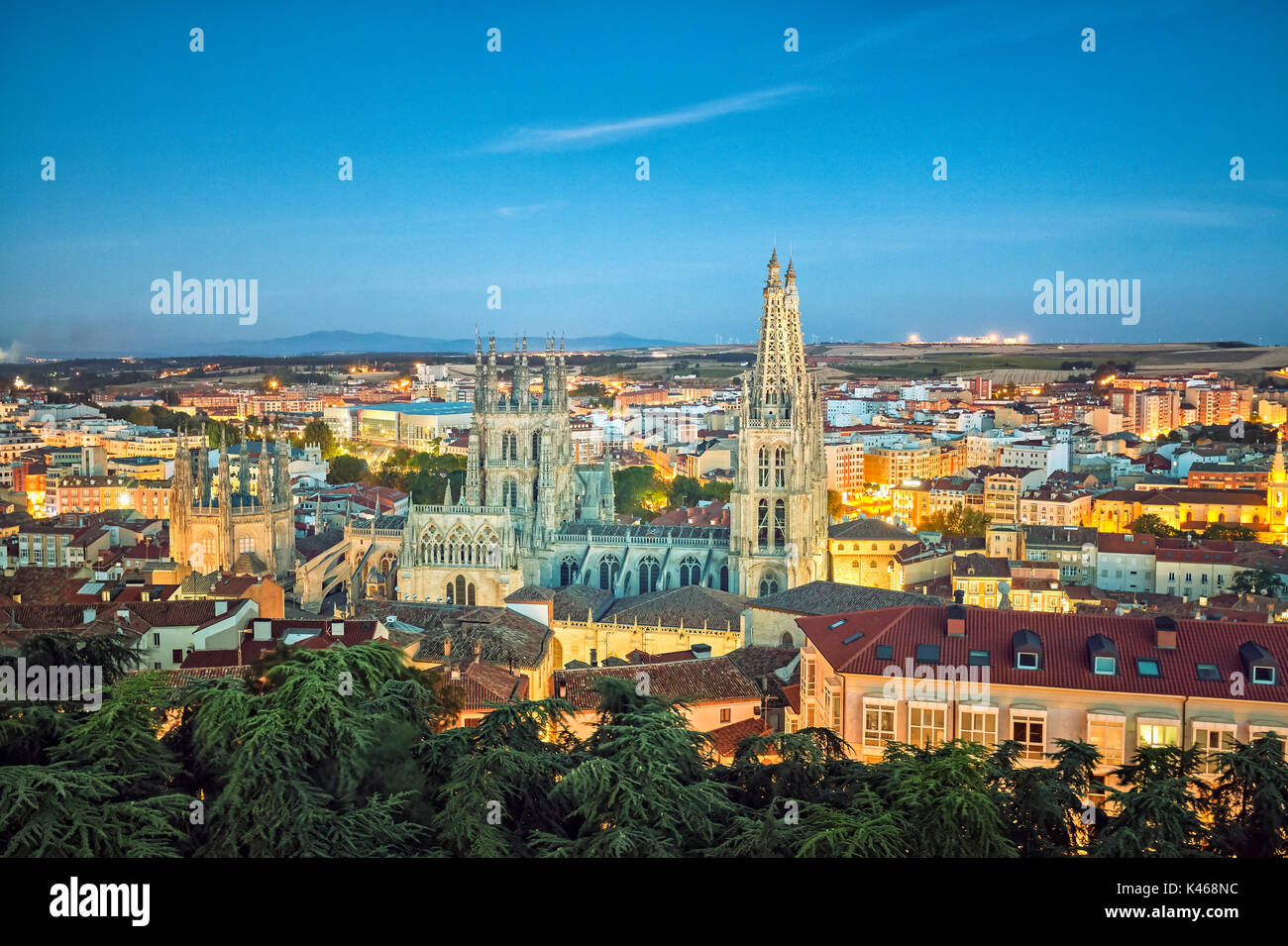 Burgos cathedral seen from the castle lookout point. Burgos. Castile and Leon. Spain - Stock Image