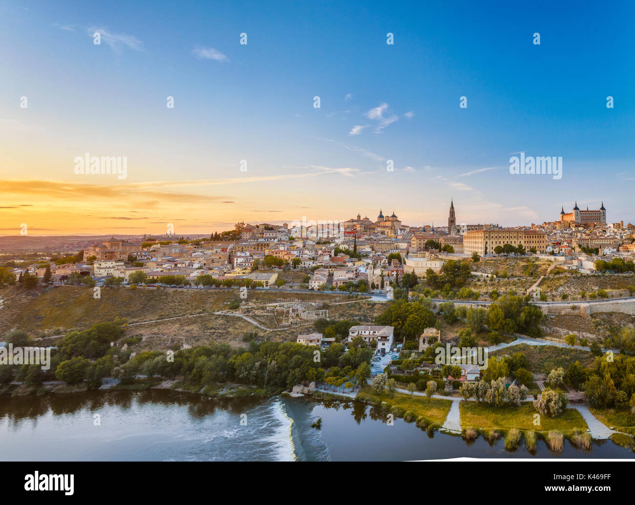 Toledo overview  at sunset. Castile-La Mancha. Spain - Stock Image
