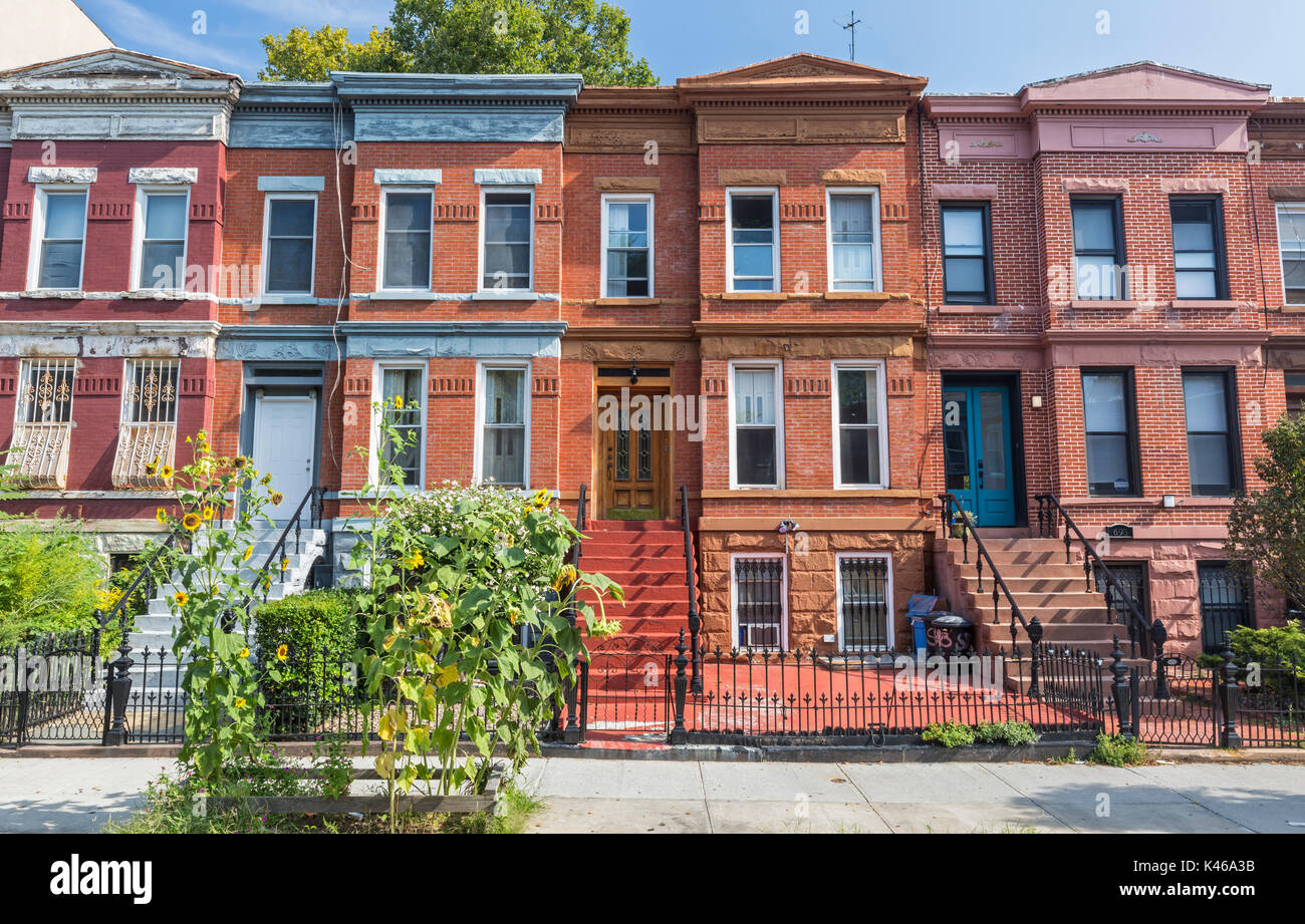 A row of brick apartment building on Union Street in the Crown Heights Neighborhood of Brooklyn, New York Stock Photo