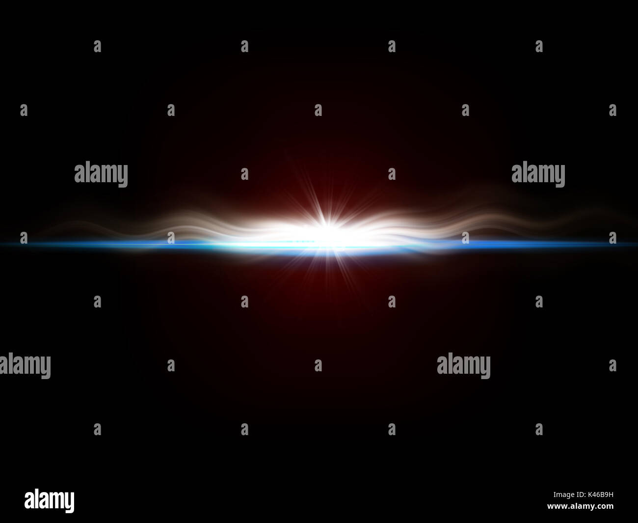 background image of defocused abstract lights and beam of light over dark background - Stock Image