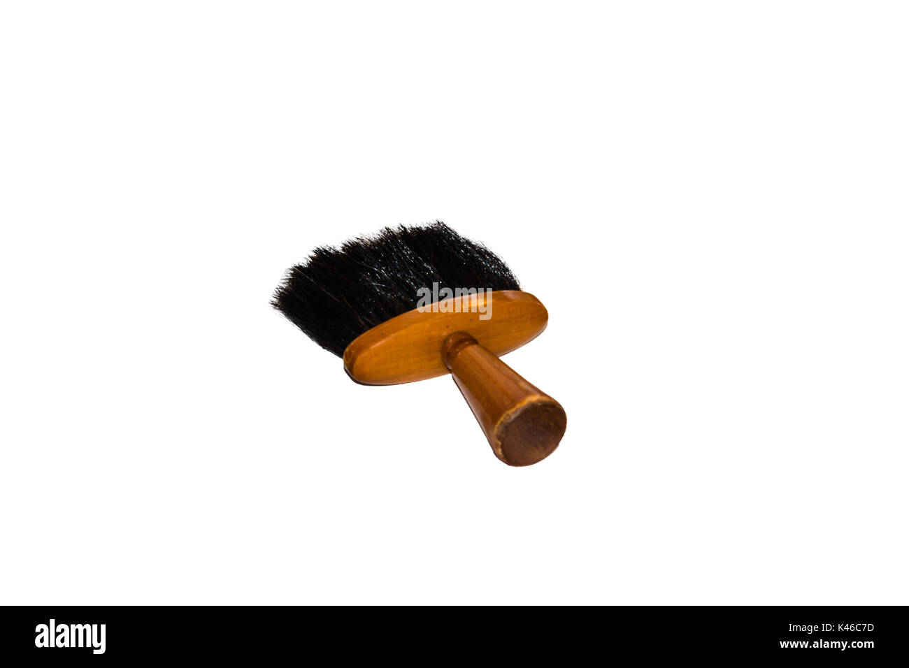 Hairdressing accessories, Professional soft brush for neck and face on white background. - Stock Image