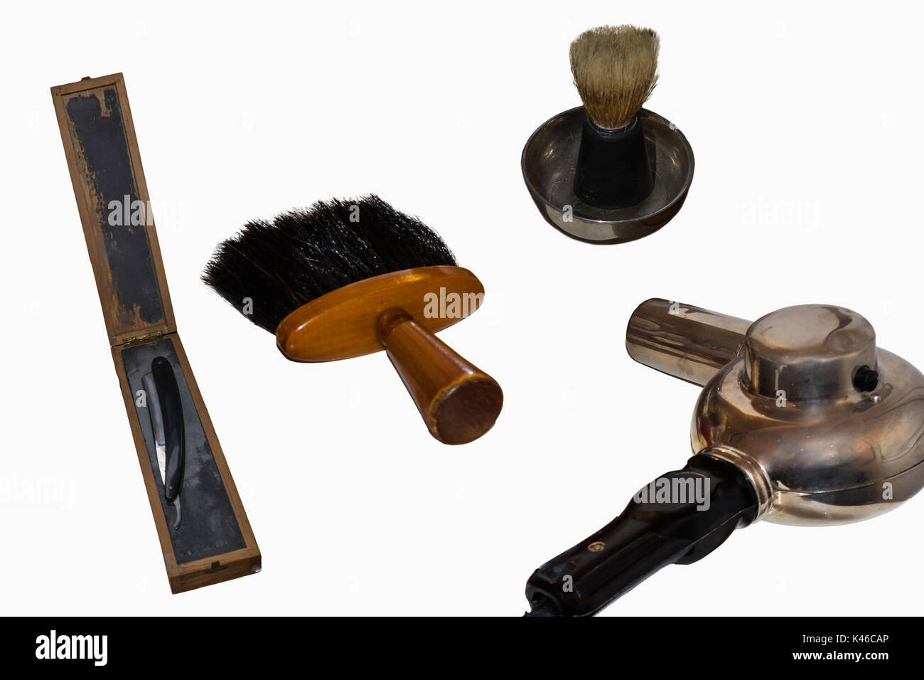 Old professional hairdressing tool and accessories - Stock Image