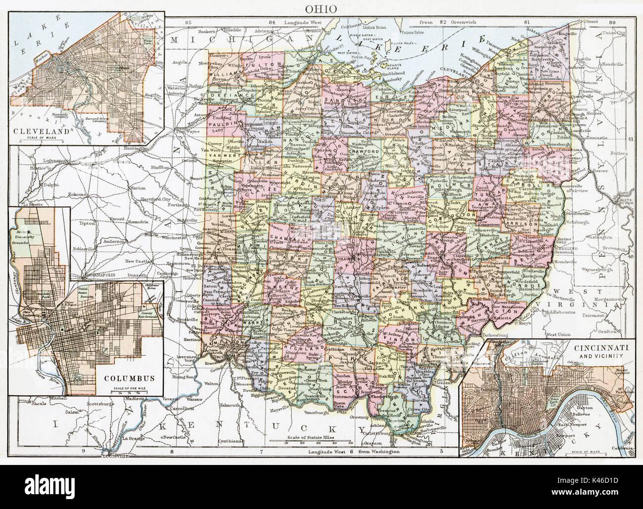 Antique map, circa 1875, of Ohio - Stock Image