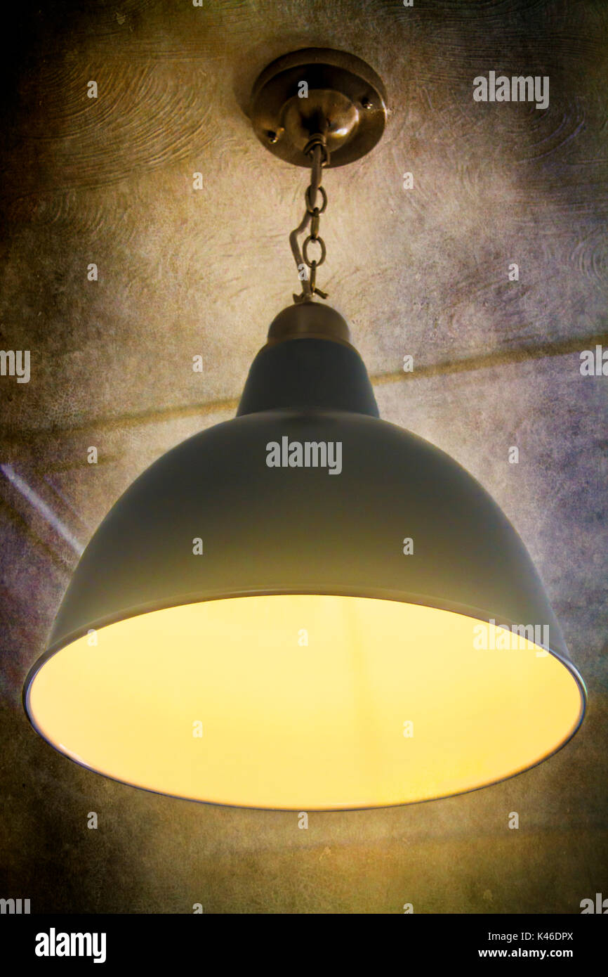 best sneakers f4459 9602c Overhead industrial metal lamp and lampshade Stock Photo ...