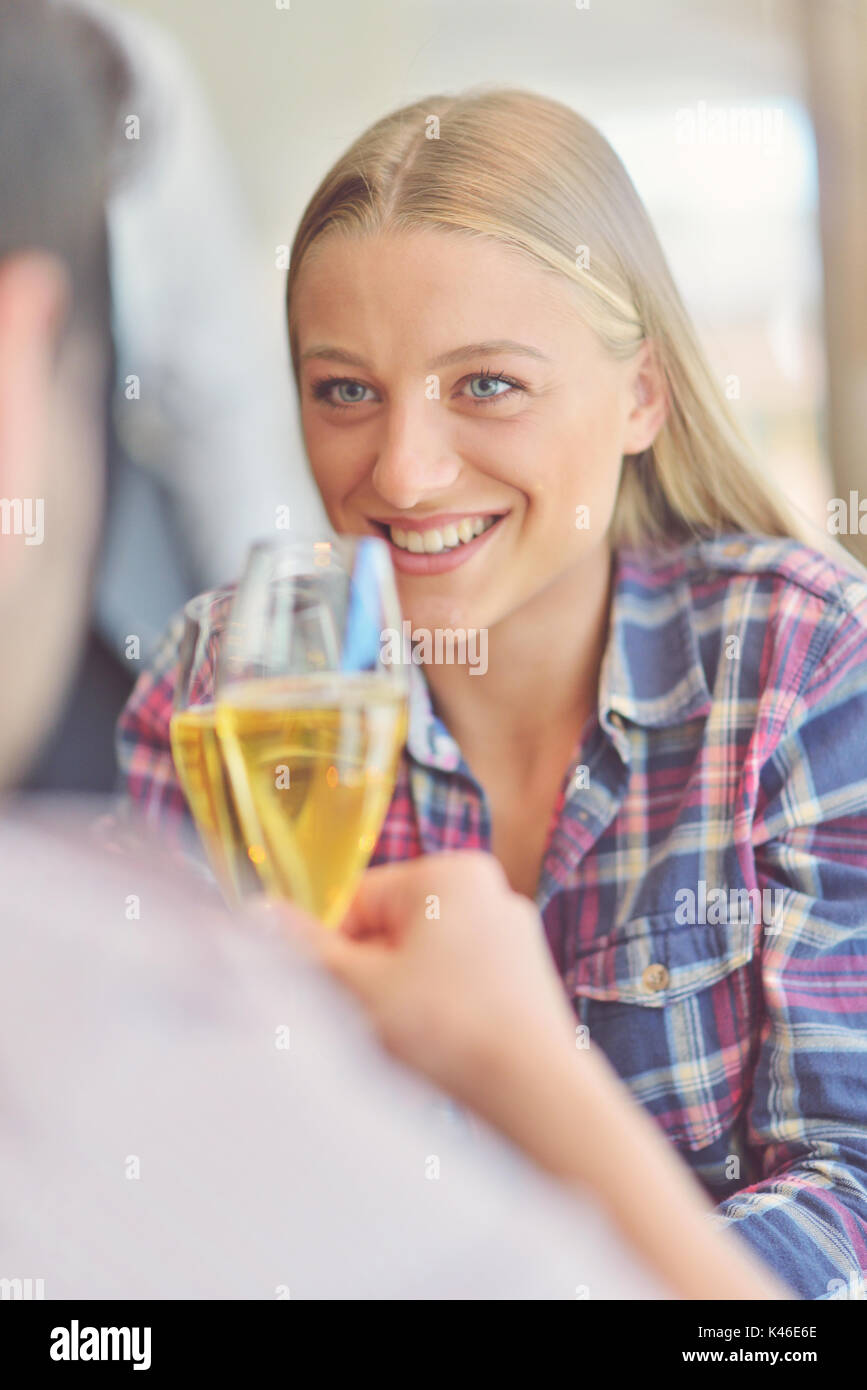 Happy lovers celebrating their anniversary - Stock Image