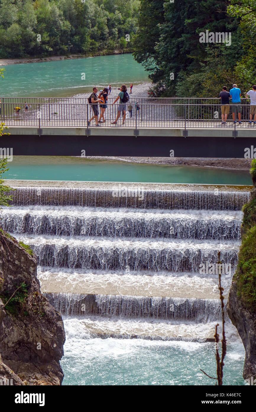 Lechfall bridge and gorge Füssen, Bavaria, Germany, Part of Romantic Road with tourists - Stock Image