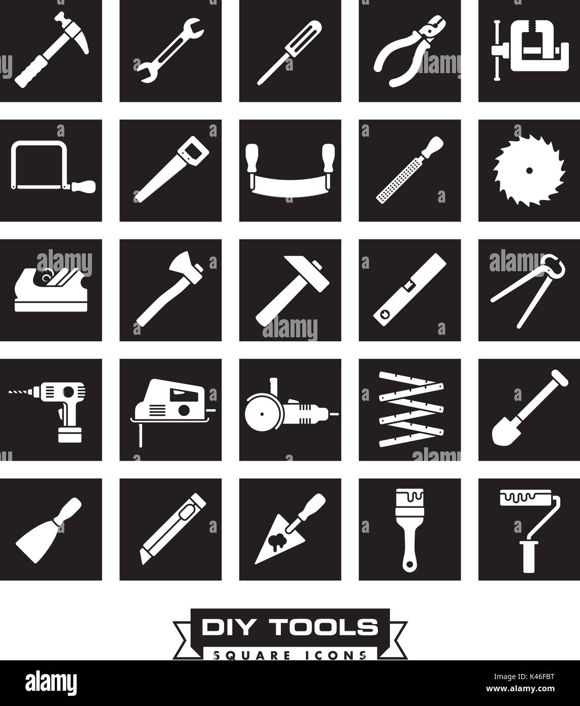 Collection of DIY and crafting tool vector icons in black squares - Stock Vector