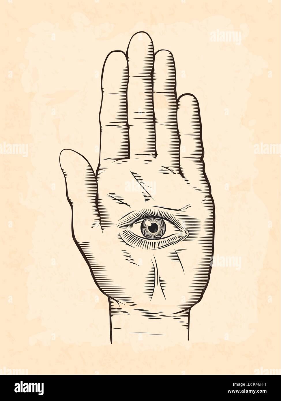 Vector Illustration Of Mystic Hamsa All Seeing Eye In Hand Symbol