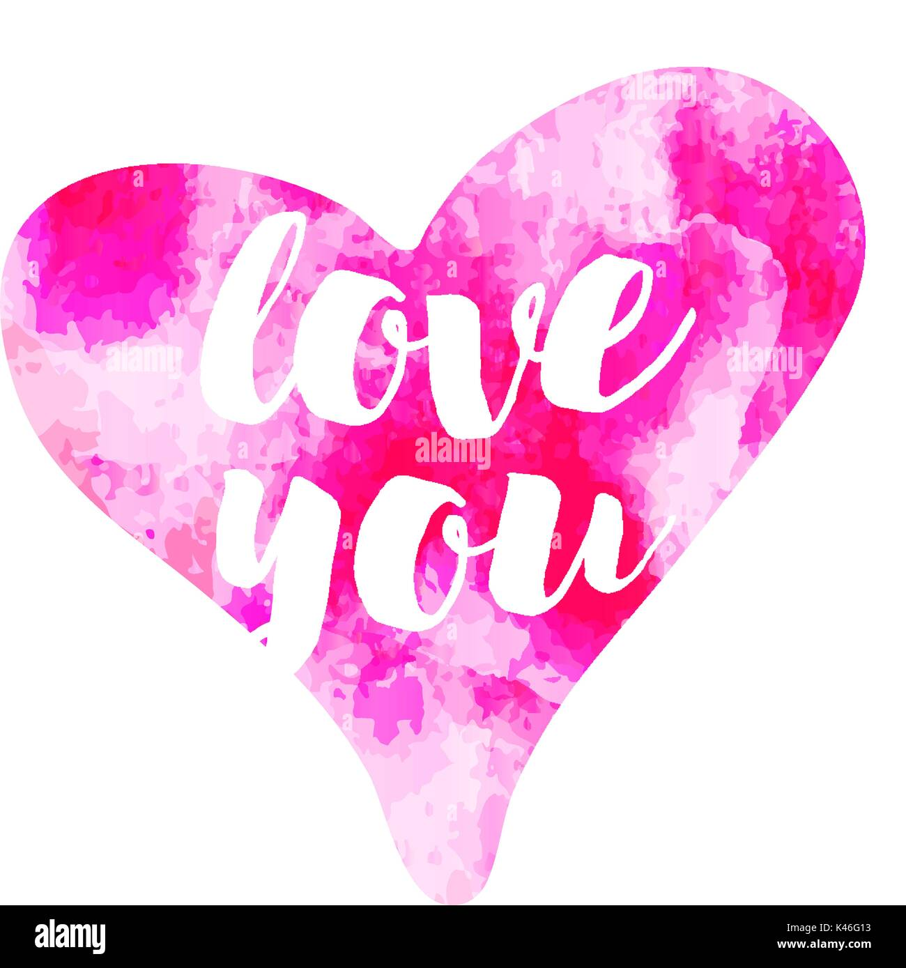Vector Pink Watercolour Hearts Love You On White Background
