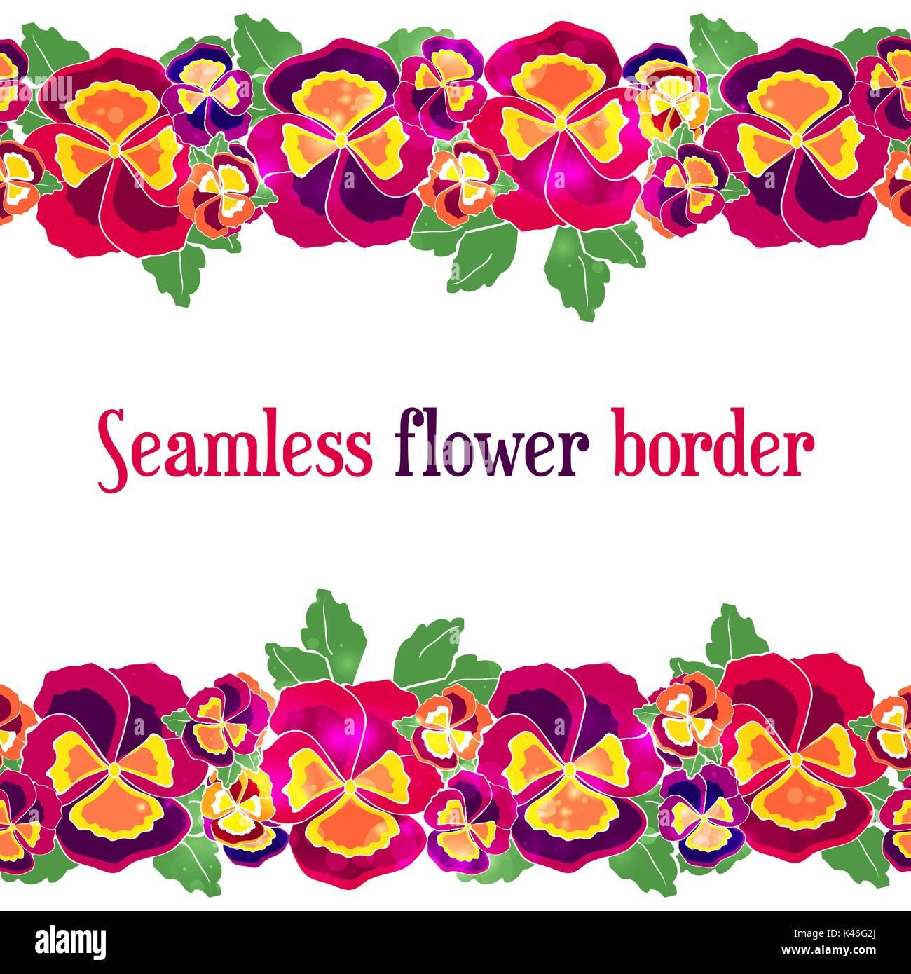 Vector Seamless Floral Border Design For Wedding Invitation Flower